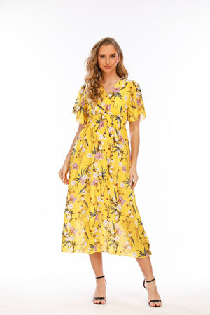 Mantra Pakistan Floral Printed Flare Dress |