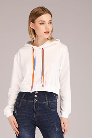 Mantra Pakistan CROPPED HOODIE WITH COLORED STRINGS | TOPS
