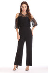 COLD SHOULDER JUMPSUIT WITH LACE YOKE