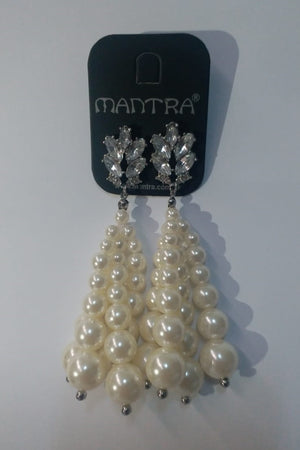 Mantra Pakistan Long 3 String Pearl Earring | ACCESSORIES