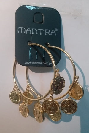 Mantra Pakistan Hoops With Coins | ACCESSORIES