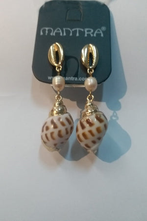Mantra Pakistan Golden Shell Drop Down Shell Earrings | ACCESSORIES