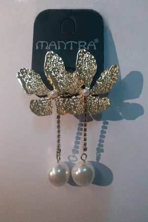 Flower And Drop Down Pearl Earrings - Mantra Pakistan