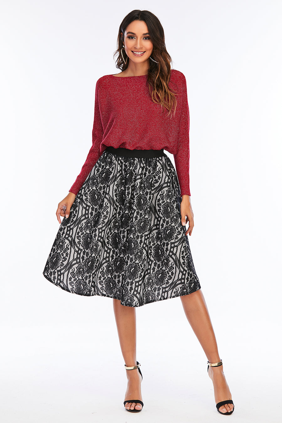 Mantra Pakistan Black floral lace skirt | Western Wear