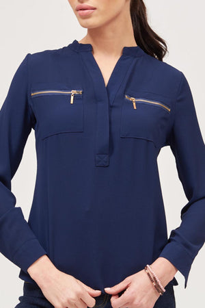 Mantra Pakistan SOLID COLORED ZIPPER POCKET TOP | TOPS