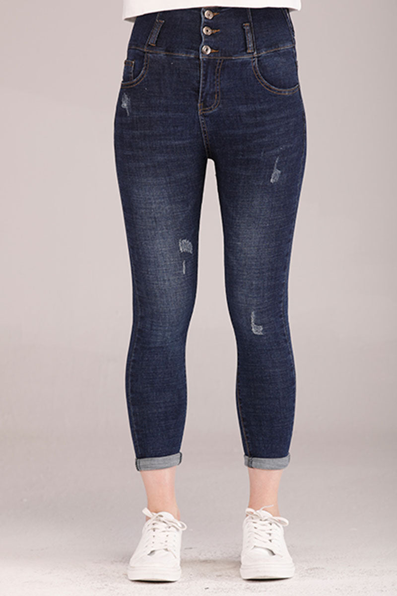 Mantra Pakistan BLUE HIGH WAIST DENIM PANTS | BOTTOMS