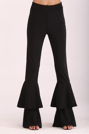 PANTS WITH LAYERED FLARES