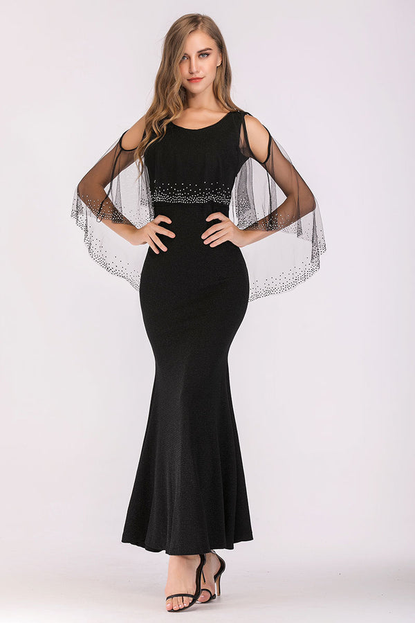 Mantra Pakistan STRETCHABLE LONG DRESS WITH EMBELLISHED NET OVERLAY | DRESS