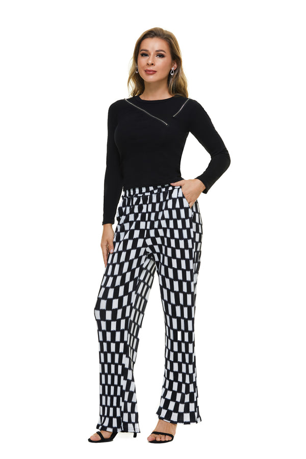 Mantra Pakistan Black & White Check Pants | BOTTOMS