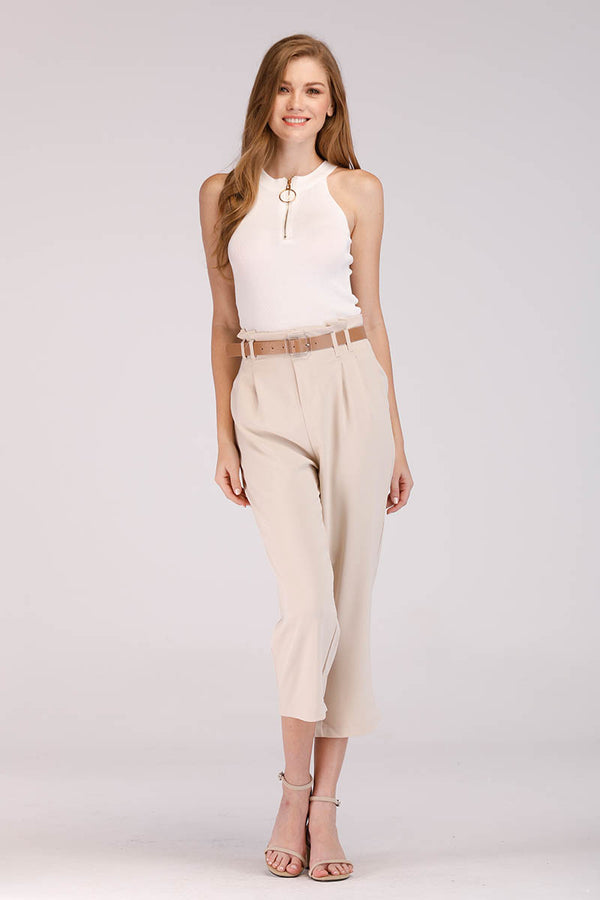 BEIGE CROPPED PANTS - Mantra Pakistan