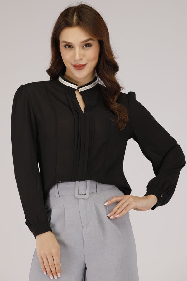 Mantra Pakistan Black Straight Collar Shirt with Pleats | TOPS
