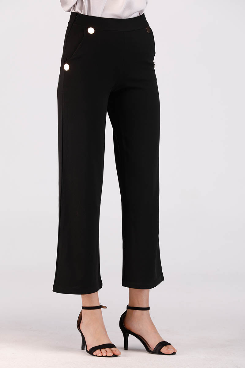 BLACK PANTS WITH GOLDEN POCKET BUTTONS - Mantra Pakistan