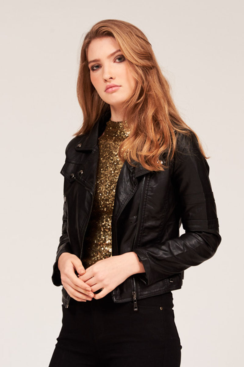 SOLID FAUX LEATHER JACKET