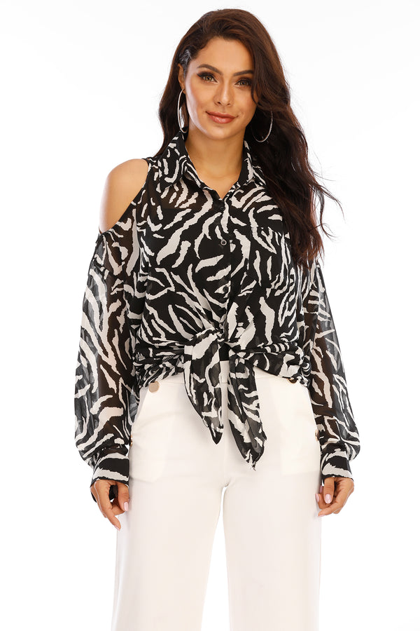 Black & White Printed Cold Shoulder  Top