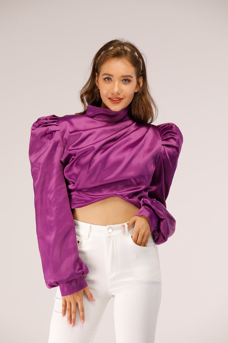 Silk top with Puffy Sleeves