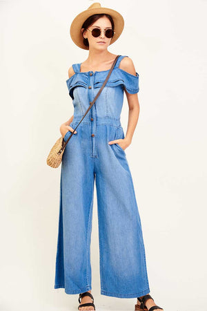 COLD SHOULDER DENIM OVERALL - Mantra Pakistan