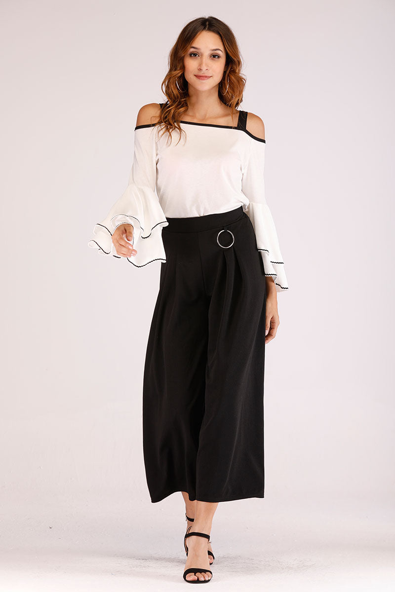 Mantra Pakistan COLD SHOULDER TOP WITH BLACK PIPING | TOPS