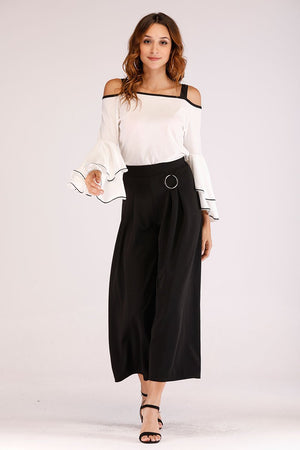 Mantra Pakistan FLARED PANTS WITH WAIST BAND RING | BOTTOMS