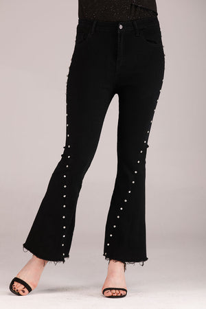Mantra Pakistan DIAMANTE EMBELLISHED FLARED JEANS | BOTTOMS