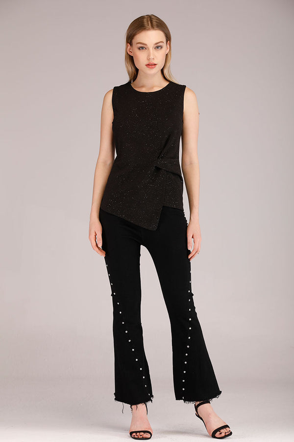DIAMANTE EMBELLISHED FLARED JEANS