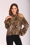 CHEETAH PRINT COLD SHOULDER TOP