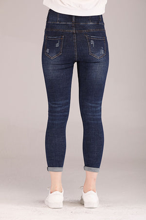 BLUE HIGH WAIST DENIM PANTS - Mantra Pakistan