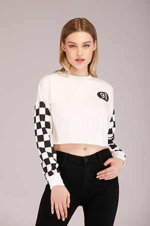 CHECKERED SLEEVES CROPPED SWEATSHIRT - Mantra Pakistan