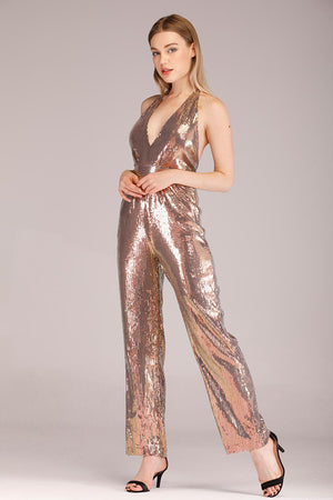 SHINY SEQUINS DEEP NECK JUMPSUIT