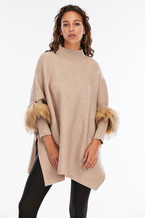 Mantra Pakistan Woven Cape With Fur Sleeves | Western Wear