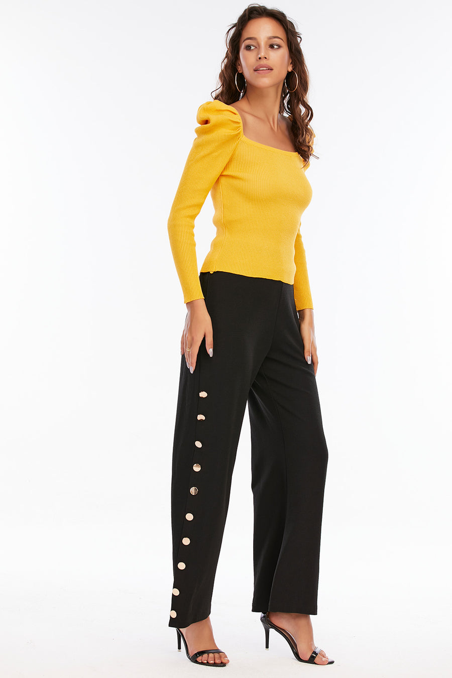 Mantra Pakistan Yellow Top with Puffy Sleeves | Western Wear