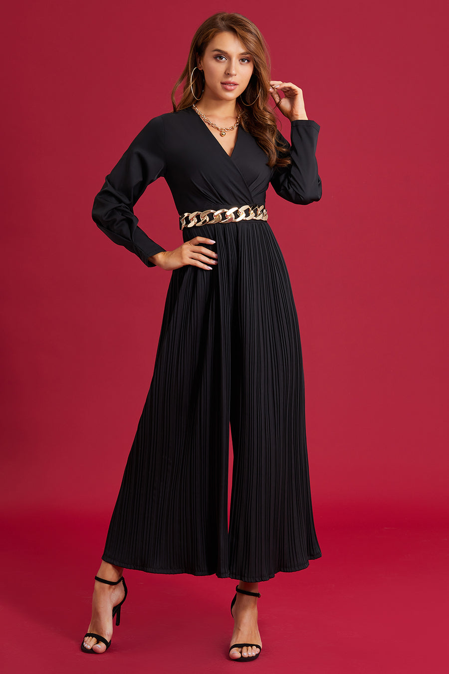 Mantra Pakistan Black Pleated Jumpsuit | Western Wear