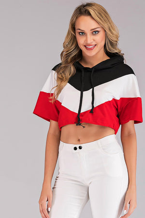 COLOR BLOCK STRIPED CROPPED HOODIE - Mantra Pakistan