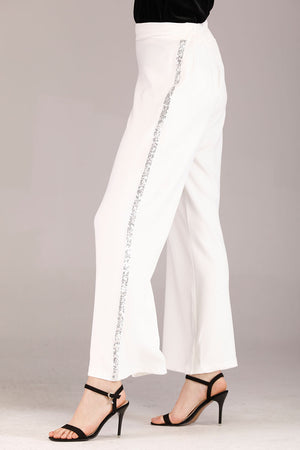 WHITE PALAZZO WITH SIDE DIAMANTE STRIPE