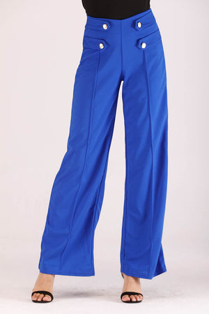 BLUE FLARED PANTS WITH FRONT BUTTONS - Mantra Pakistan