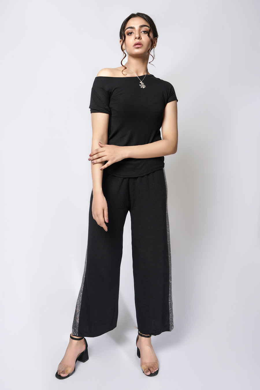 Mantra Pakistan Off shoulder tee black | Western Wear