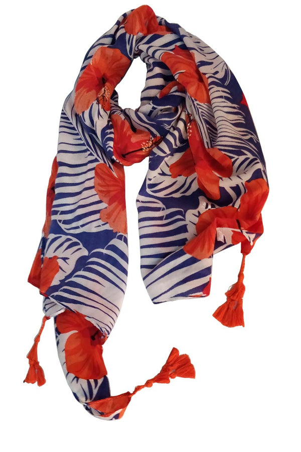Mantra Pakistan FLOWERS AND LEAVES PRINTED SCARF | ACCESSORIES