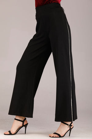 Mantra Pakistan BLACK PALAZZO WITH SIDE DIAMANTE STRIPE | BOTTOMS