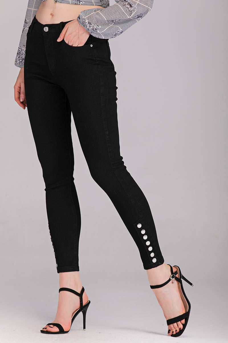 Mantra Pakistan BUTTON CUFF JEANS | BOTTOMS