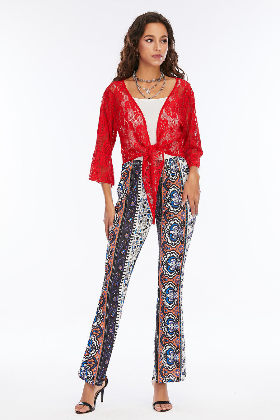 Mantra Pakistan Red Lace Shrug | Western Wear