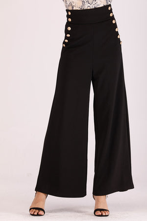 Mantra Pakistan BLACK HIGH WAIST PANTS | BOTTOMS