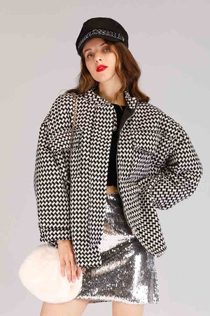 Mantra Pakistan PLAID HOUNDSTOOTH JACKET | OUTERWEAR