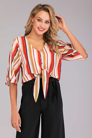 Mantra Pakistan STRIPED CROPPED WRAP TOP | TOPS