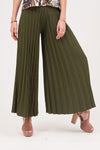 SOLID COLORED FLARED PLEATED PANTS