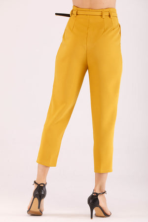 Mantra Pakistan SOLID COLORED FORMAL PANTS WITH BELT | BOTTOMS
