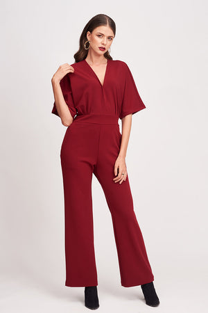 SOLID COLORED V-NECK JUMPSUIT