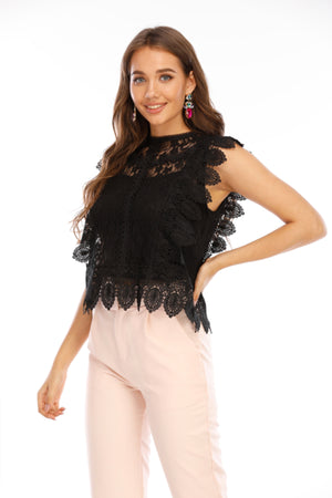 Mantra Pakistan Sleeveless floral lace top | Western Wear