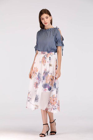 Mantra Pakistan WHITE CHIFFON FLORAL PRINTED SKIRT | BOTTOMS