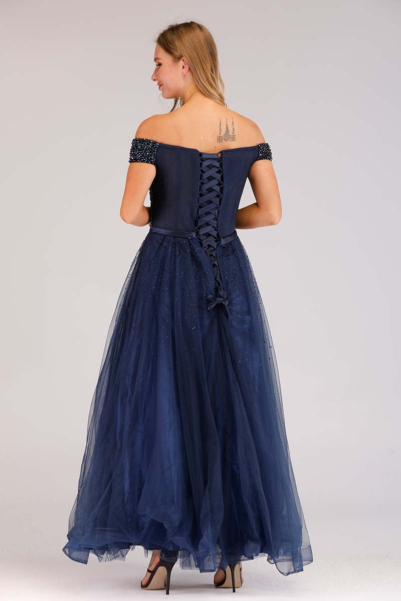 NAVY OFF SHOULDER EVENING DRESS