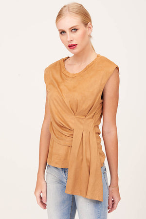 Mantra Pakistan SCRUNCHED BEIGE TOP | TOPS