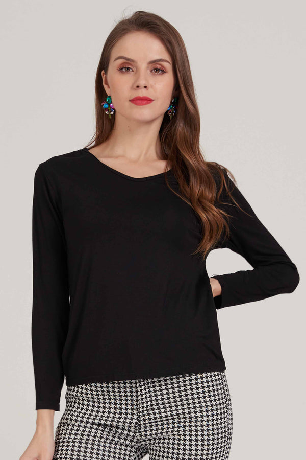 Black V-Neck Plain Tee